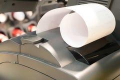 Cashier recording sales data, receipt printing. Cashier recording sales data with thermal receipt printer from a cashier counter stock photos