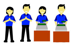 Cashier, sales promotion girl and sales promotion boy. On white Royalty Free Stock Photos