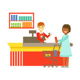 Cashier serving buyer at the cash register in supermarket. Shopping in grocery store, supermarket or retail shop. Colorful character vector Illustration Stock Photos