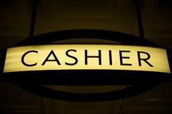 Cashier sign. Inside a casino. Neon light sign Royalty Free Stock Image