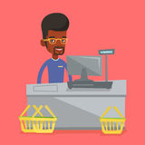 Cashier standing at the checkout in supermarket. African-american cashier working at checkout in a supermarket. Cashier standing at the checkout in supermarket Royalty Free Stock Photos