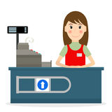 Cashier woman character at the counter. Stock Image