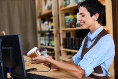 Cashier at work Stock Photography
