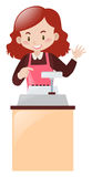 Cashier working behind the desk. Illustration Royalty Free Stock Photo