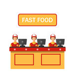 Cashiers with Cash Register in Diner with Fast Stock Photos