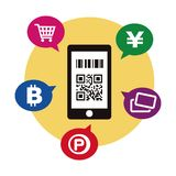 Cashless και εικόνα πληρωμής Smartphone απεικόνιση αποθεμάτων