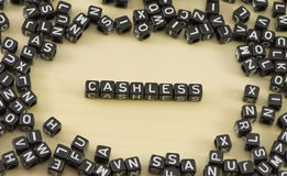 The cashless. The concept of the word cashless Stock Images