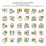 Cashless Society. Thin Line and Pixel Perfect Icons Stock Photo
