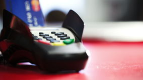 Cashless transfers using bank terminal stock footage