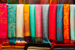 Cashmere pashminas. Pashminas of different colours in old bazaar Royalty Free Stock Photos