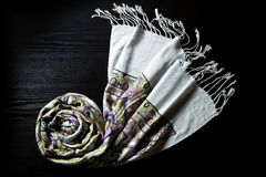 Cashmere scarf on a black background Royalty Free Stock Images
