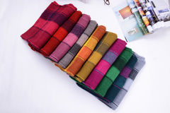Cashmere scarfs with different colors folded together Royalty Free Stock Photo