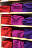 Cashmere sweaters in clothing store. Royalty Free Stock Photography