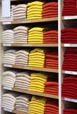 Cashmere sweaters in clothing store. Royalty Free Stock Image