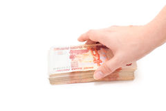 Cashnotes money with hand Royalty Free Stock Photo