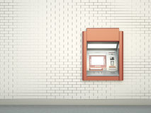 Cashpoint. White wall with ATM machine. 3D render Stock Photography