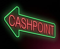Cashpoint concept. Illustration depicting an illuminated neon sign with a cashpoint concept Stock Photos