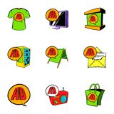 Cashpoint icons set, cartoon style. Cashpoint icons set. Cartoon illustration of 9 cashpoint vector icons for web Stock Photography