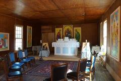 Casi termine la restauración de la iglesia en el pueblo fantasma de Mogollon nanómetro Imagenes de archivo