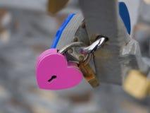 Casier rose sur la barrière à Lisbonne Photo libre de droits