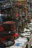 Casiers dans le port de Brixham Images libres de droits