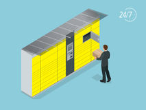Casiers isométriques de la livraison de colis Libre service La distribution exprès Ce service fournit une alternative à la livrai Photographie stock