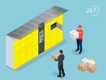 Casiers isométriques de la livraison de colis Libre service La distribution exprès Ce service fournit une alternative à la livrai Photos stock