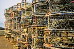 Casiers, port Orford, Orégon Photos libres de droits