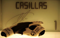 Casillas's gloves. A shot of Casillas's gloves in the Real Madrid museum Royalty Free Stock Photo