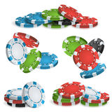 Casinò Chips Stacks Vector 3D realistico Fotografia Stock