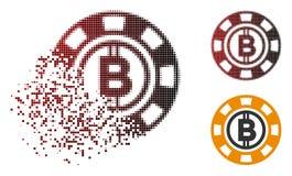 Casinò di semitono disperso Chip Icon di Pixelated Bitcoin Illustrazione Vettoriale