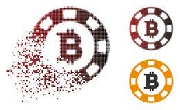 Casinò di semitono dissolto Chip Icon di Pixelated Bitcoin Illustrazione Vettoriale