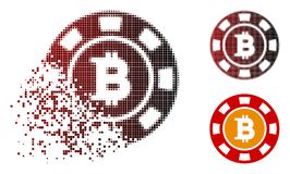 Casinò di semitono punteggiato rotto Chip Icon di Bitcoin Royalty Illustrazione gratis