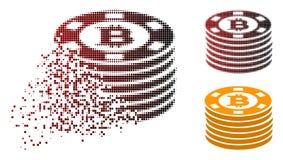Casinò di semitono punteggiato di scomparsa Chips Icon di Bitcoin Illustrazione Vettoriale