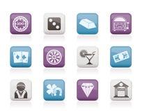Casinò ed icone di gioco Fotografia Stock Libera da Diritti