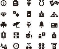 Casinò ed insieme di gioco dell'icona Fotografie Stock Libere da Diritti