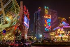 Casinò famoso di Macao alla notte immagini stock libere da diritti