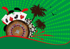 Casin�. Illustration of roulette, playcard and fiches Royalty Free Stock Photos