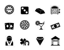 Casinò della siluetta ed icone di gioco Fotografie Stock