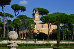 Casina dell'Orologio in Piazza di Siena. A famous building in Villa Borghese park in Rome Stock Image