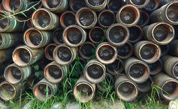 Casing laydown on the yard. At warehouse royalty free stock photography