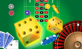 Casino. Illustration of a casino, cards, roulette, cubes Royalty Free Stock Photo