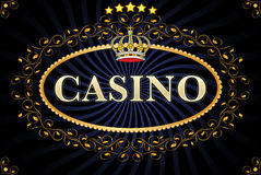 Casino. Emblem of a casino with crown, floral and stars royalty free illustration