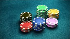 Casino 6 of chips blue table 1 Stock Photo