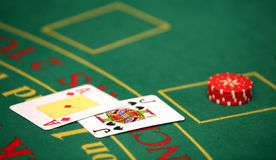 Casino. Black jack cards in casino Royalty Free Stock Images