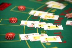 Casino. Black jack cards in casino Stock Image