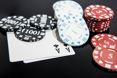 Casino abstract photo. Poker game on red background.  Theme of gambling.  stock images