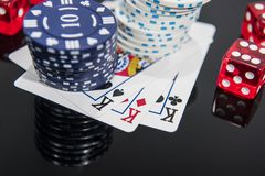 Casino abstract photo. Poker game on red background.  Theme of gambling. Casino abstract photo. Poker game on red background. Theme of gambling royalty free stock photography