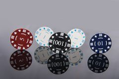 Casino abstract photo. Poker game on red background.  Theme of gambling.  royalty free stock images