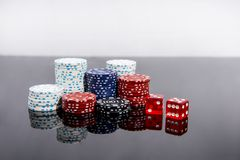 Casino abstract photo. Poker game on red background.  Theme of gambling. Casino abstract photo. Poker game on red background. Theme of gambling stock images